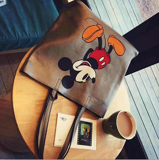 Disney mickey mouse dos desenhos animados grande capacidade bolsa de ombro shopper senhora bolsa feminina compras lazer moda bolsa de ombro