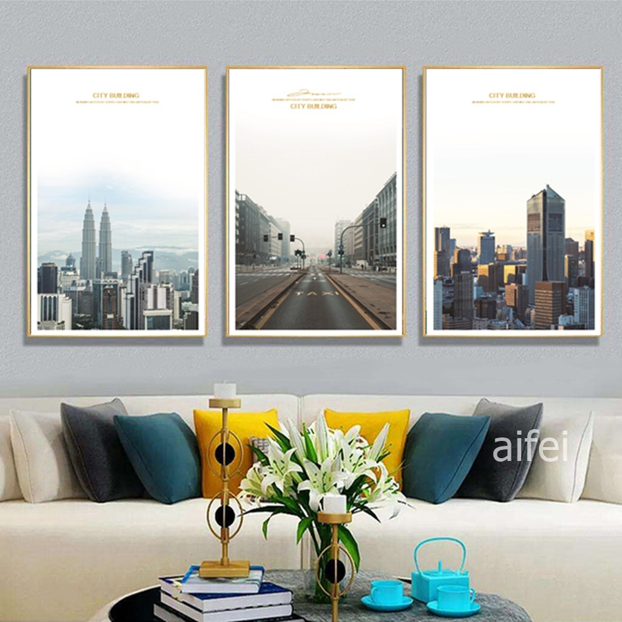 Nordic Decoration Home Art Poster Minimalist City Architecture Landscape Canvas Painting Modular Wall Pictures For Living Room