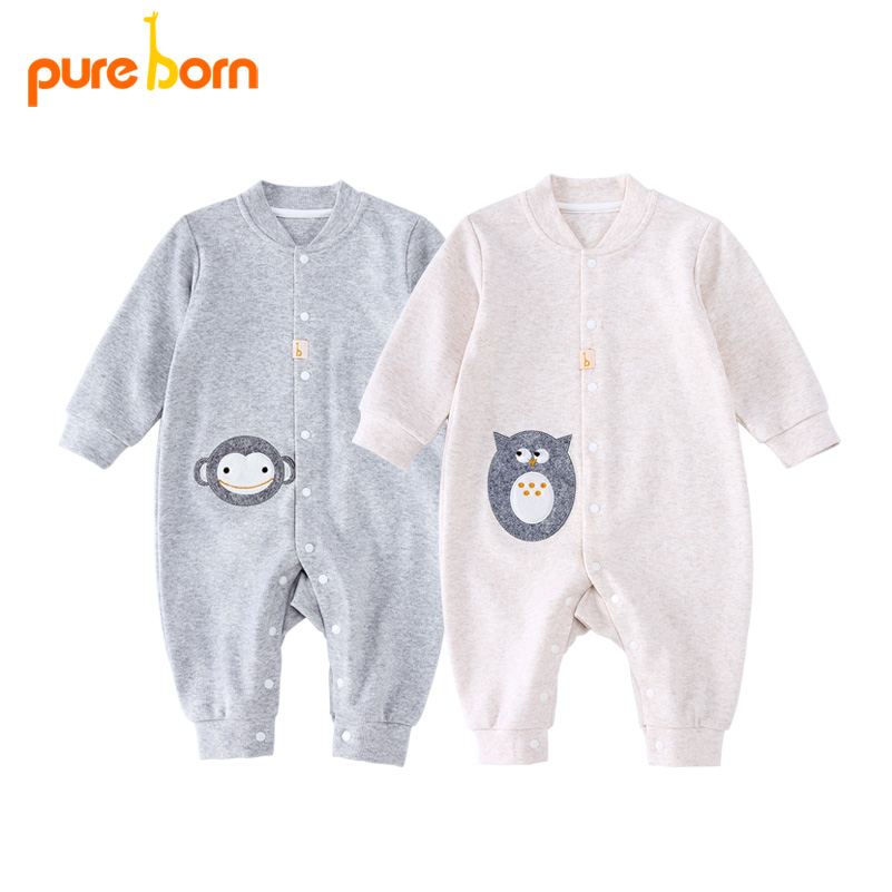 Pureborn Baby Clothes Newborns Infant   Rompers   Cute Owl Overalls Boys Girls Clothes Baby Jumpsuits Long Sleeve Organic Cotton