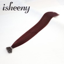 "Isheeny 99J# Nano Ring Links Human Hair Extensions Straight 18"" Burgundy Remy European Micro Beads Hair On Capsule 50 pcs(China)"