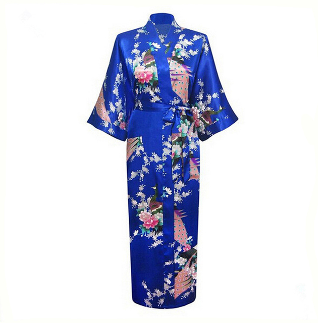 Verão azul estilo chinês de seda Robes de Rayon mulheres longo imprimir roupa Kimono banho pijamas vestido de mujer Plus Size XXXL NR016