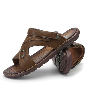 Image 3 - VASTWAVE Classics Summer Shoes Men Slippers Quality Split leather Sandals For Men Comfortable Flip Flops Men Beach Sandals