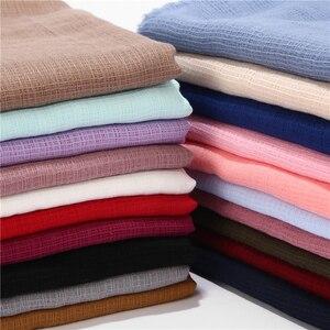 Image 1 - Bufanda de algodón y lino suave para mujer, pañuelo largo de diseño, a cuadros, musulmán, hiyabs, 20 colores, 1 ud.