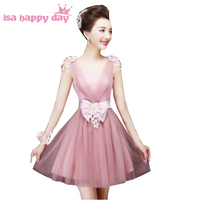 girls blush bridesmaid tulle dress short fashion ladies elegant sweetheart party dresses for spring size 2 ball gown H2707