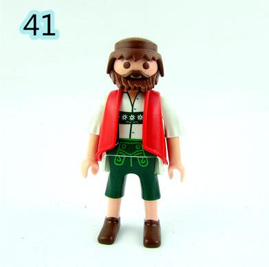 45PCS/Lot 7cm Playmobil Different Figures Juguetes Police Castle Knights Noel Farm Girl Boy Soldiers Pirates Navidad Kids Toys