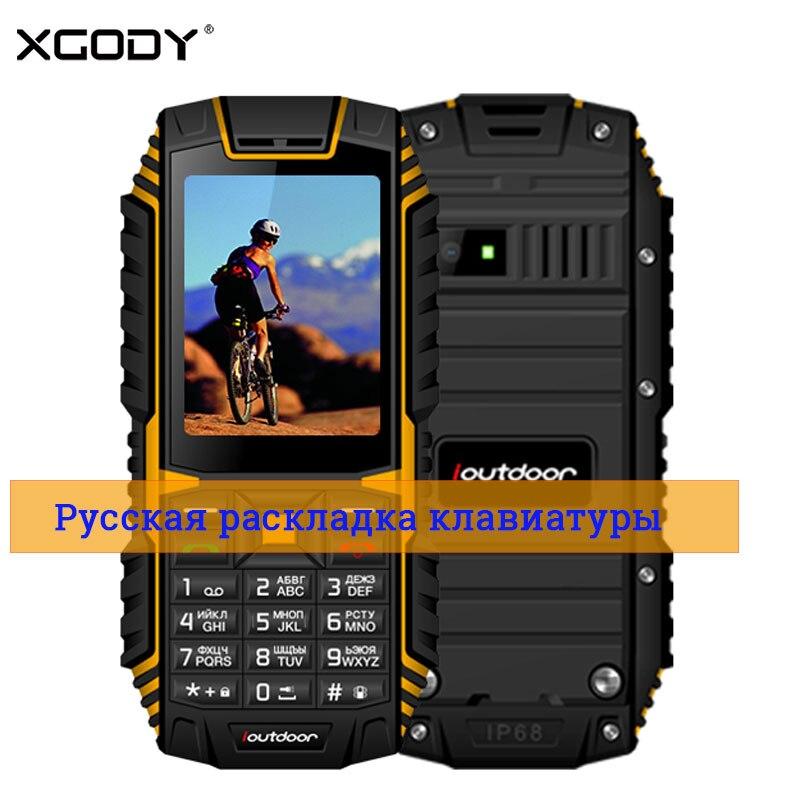XGODY ioutdoor T1 2g Caractéristique Téléphone IP68 Antichoc 2.4 ''128M + 32 m GSM 2MP Retour Caméra FM cep telefonu Telefon Celular 2g 2100 mah