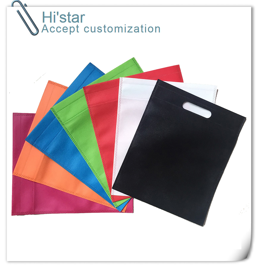 20 pieces/lot Size black/white/orange/pink/blue color non woven reusable shopping bags f ...