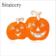 Sitaicery Rhinestone Pumpkin Brooches For Women Orange Color New Fashion Winter Corsage Coat Sweater Accessories High Quality