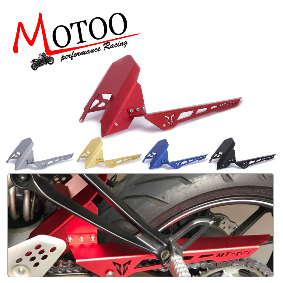 Motoo - For Yamaha MT07 MT-07 2013-2017 FZ07 2015 2016 2017 CNC Aluminum Rear Tire Hugger Fender Mudguard Chain Guard Cover red for yamaha yzf r25 r3 13 16 14 15 motorcycle rear fender dust mudguard with chain guard fairing tire wheel hugger protector