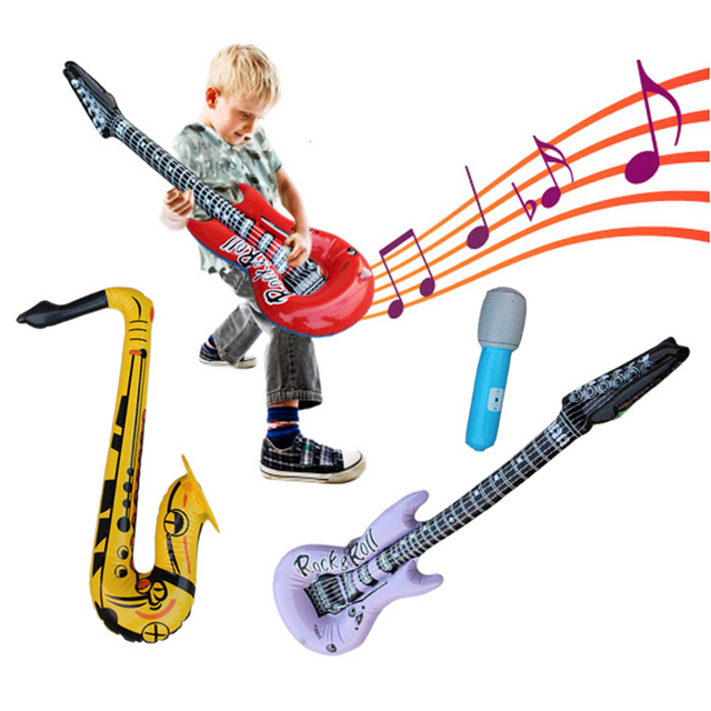 1PCS Inflatable microphone guitar saxophone balloon blowing birthday party time star disco toy children's party
