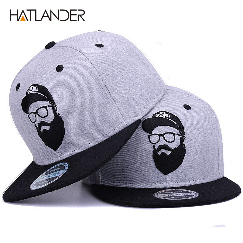 [HATLANDER]Original grey cool hip hop cap men women hats vintage embroidery character baseball caps gorras planas bone snapback