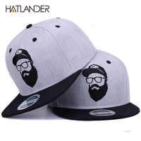 [HATLANDER] Originale grigio freddo di hip hop cap uomini donne cappelli dell'annata del ricamo baseball carattere Cappellini gorras planas osso snapback