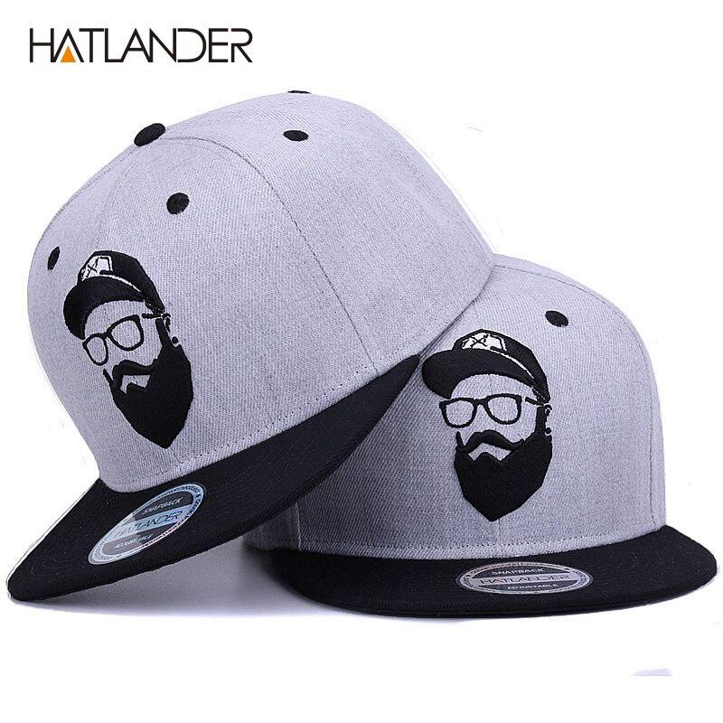 [Hatlander] original cinza legal hip hop boné masculino feminino chapéus vintage bordado personagem bonés de beisebol gorras planas osso snapback