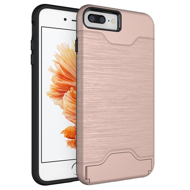 Funda trasera para teléfono móvil/bolsa para iPhone 6 Plus desmontable con tarjetero oculto y soporte multimedia para iphone 6 6s 7 8 Plus