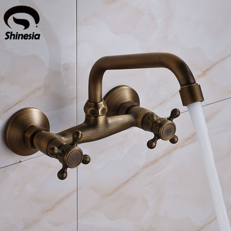 Antique Brass Bathroom Sink Faucet Dual Handles Double Holes Bathtub Mixer Tap Wall Mount antique brass three holes bathroom sink basin faucet mixer tap dual handle