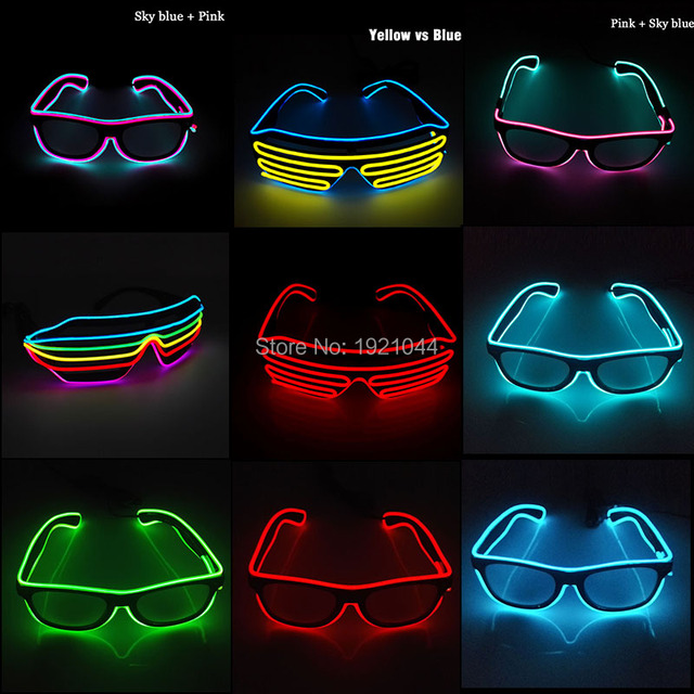 10 Colors Flashing EL wire Led Glasses Luminous Party Lighting Colorful Glowing Gift For Dj Bright Light Party Decoration