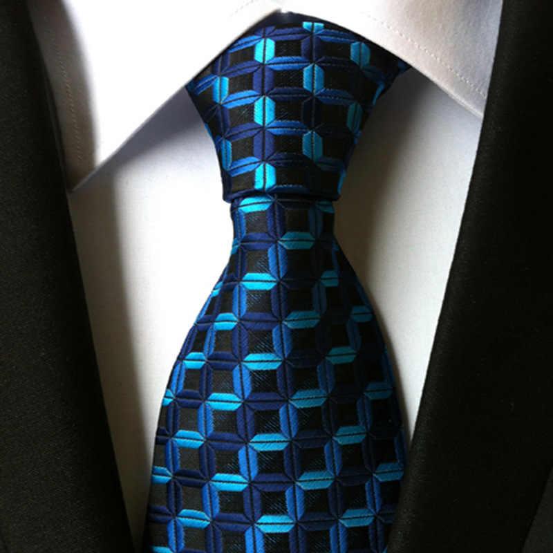 New Classic 100% Degli Uomini di Seta Cravatte Cravatte 8 Centimetri Plaid Cravatte a Righe per Gli Uomini di Affari Formale da Sposa di Lusso partito Cravatte Gravatas