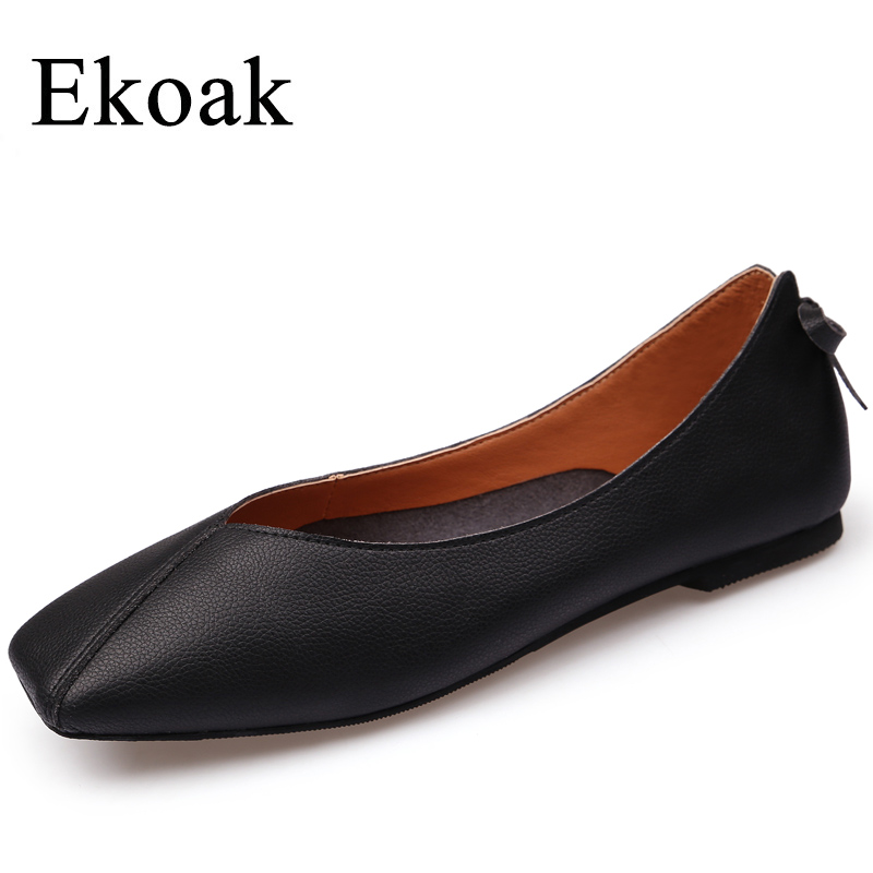 Ekoak New 2018 Genuine Leather Shoes Woman Fashion Butterfly-knot Women Casual Shoes Spring Soft Women Flats Shoes new 2018 spring summer shoes women flats soft leather fashion women s casual brand shoes breathable comfortable