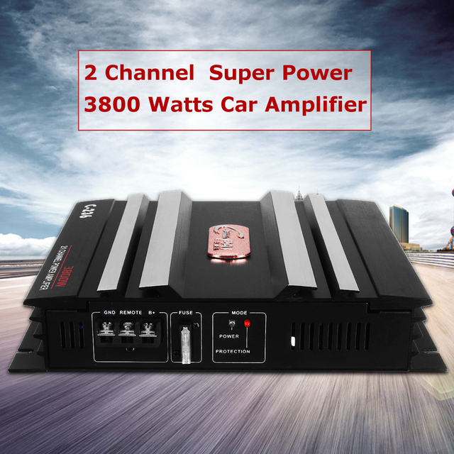 Special Price KROAK 3800 Watt 2 Channel 12V Car Audio Power Amplifier Amp Aluminum Alloy Black Car Amplifiers Audio Speaker Amplifiers