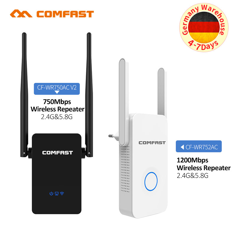Dual Band 750 - 1200 Mbps Comfast Wifi Extender/Access Point Repeater/Router/2.4GHz+5GHz Dual Antenna WI FI AP Signal Amplifer