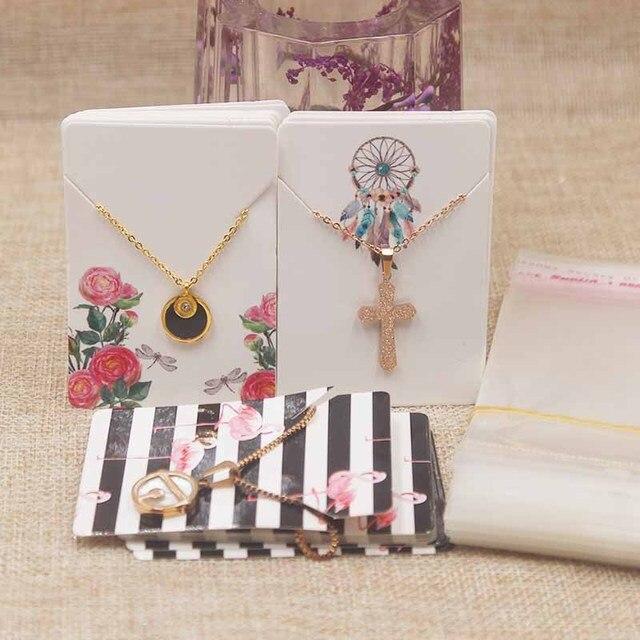 200 pcs 100 Cartão Cartão + 100opp Sacos Cartões Brinco 4 Cor Sólida Jóias De Papelão Exibição Popular Estilo de Design de Moda 5x7 cm