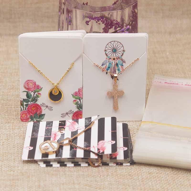 200pcs 100Card+100opp Bags Earring Cards 4 Solid Color Paperboard Jewelry Display Cardboard Popular Fashion Design Style 5x7cm