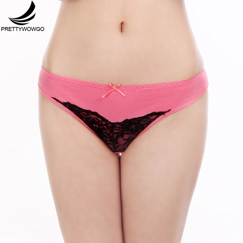 Prettywowgo Cotton Briefs Female Underwear Sexy Lace Women Panties 6993