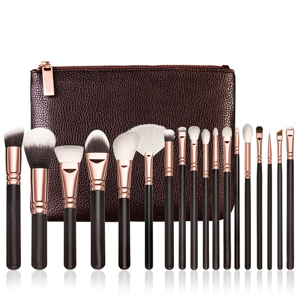 Hot Women 18 pcs Rose Gold Makeup Brush Complete Eye Set Tools Powder Blending Brush pincel