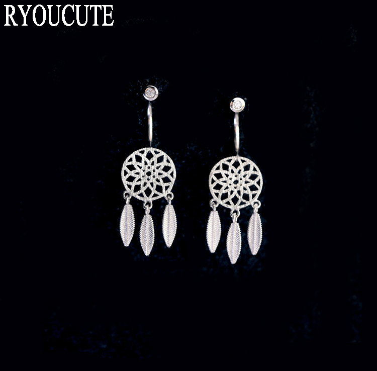 Fashion Silver Color  Long Tassel Feather Earrings For Women Brincos Pendientes Wedding Jewelry