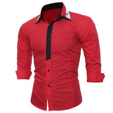 Men's Shirt Male Clothing Wedding Meeting Business Slim Fit Shirt Long Sleeve Lapel Tops Spring Summer Red Sky Blue 1110