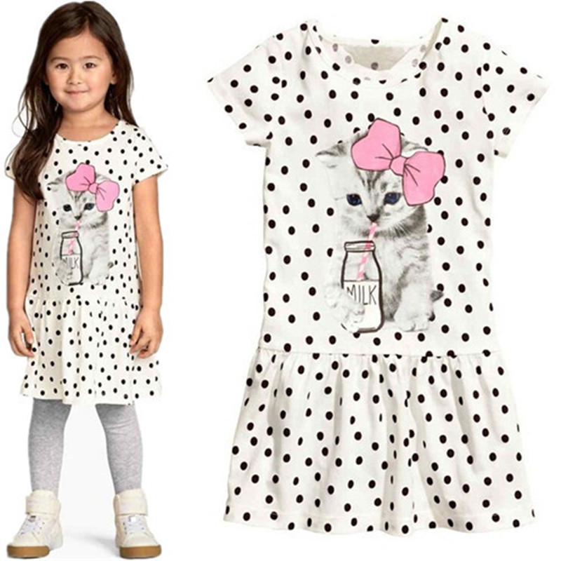 2018 new Arrival summer girl dress cat print baby girl dress children clothing children dress