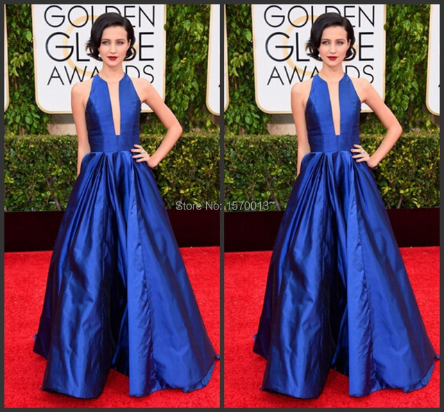 royal blue Julia Goldani Telles celebrity dresses 2015 golden globe awards  scoop neck floor length a line taffeta evening gowns 7511a7053dc2