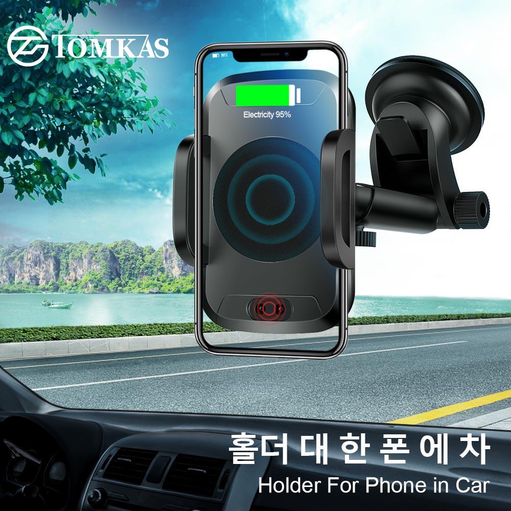 Tomkas держатель для телефона в автомобиль Qi Беспроводной Зарядное устройство для iPhone X 8 плюс мобильный телефон Поддержка автомобильный держа...