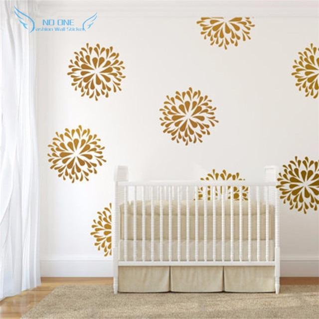 Gold Flowers Wall Decals Vinyl Sticker Kids Bedroom Art Decor