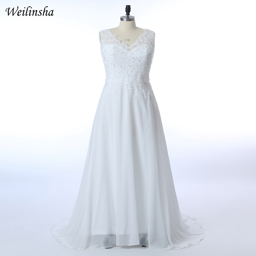 173f7e5b3d55 Weilinsha Plus Storlek Bröllopsklänningar 2019 Lager Billiga Chiffon V-hals  Brudklänning Vit Bröllopsklänni.