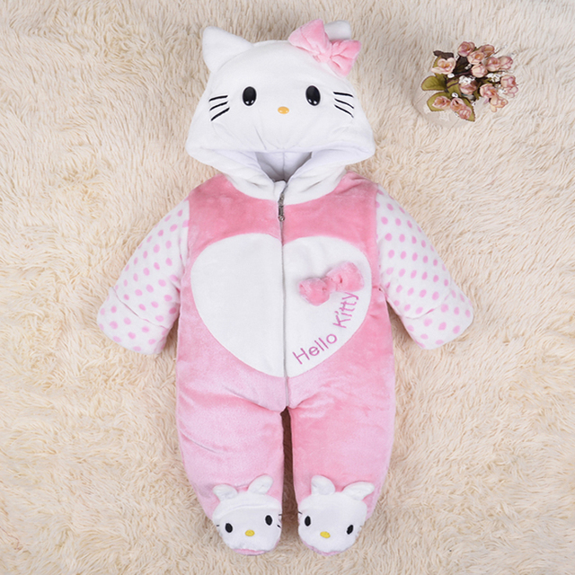 2016 new arrival baby winter coveralls infant girls HelloKitty snowsuit Thick Warm newborn baby outwear Fashion Cute Jacket