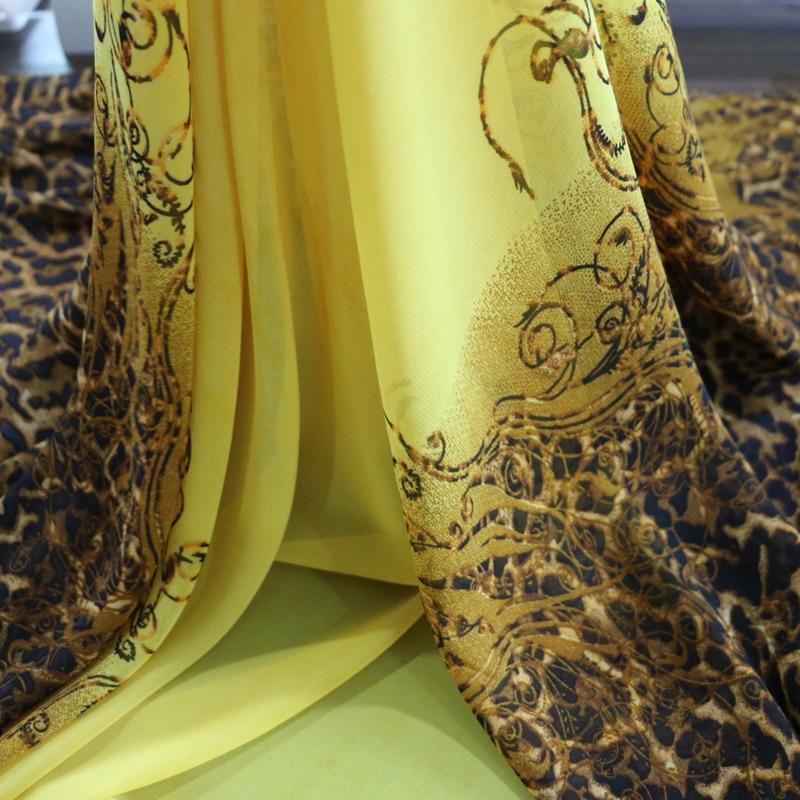 2016 New Fashion African Leopard Print Dress Fabric Chiffon Gauze Yellow