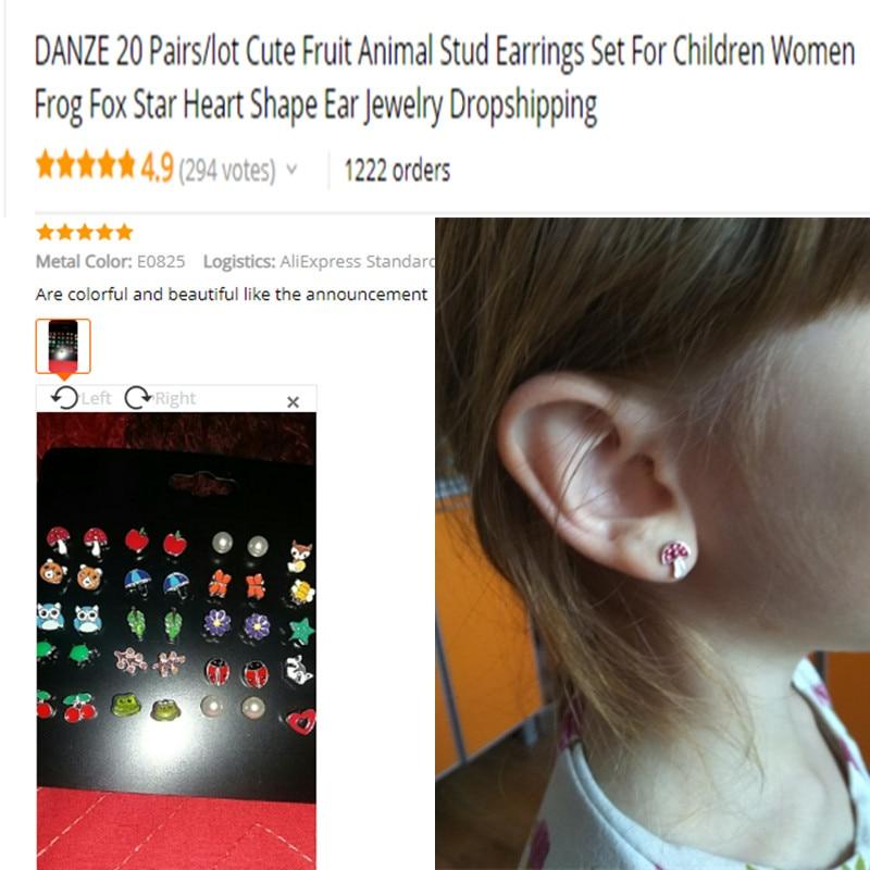 DANZE-20-Pairs-lot-Cute-Fruit-Animal-Stud-Earrings-Set-For-Children-Women-Frog-Fox-Star (1)