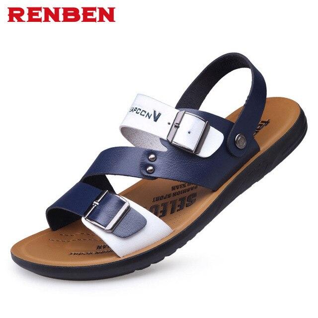 24f7d621a796 Men Sandals PU Split Leather Men Beach Sandals Brand Men Casual Shoes Flip  Flops Men Slippers Sneakers Summer Shoes