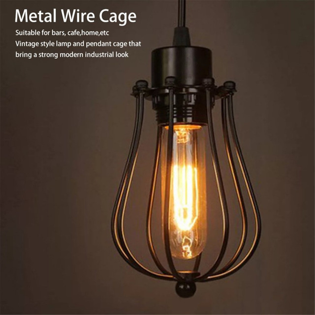Vintage Lamp Covers Metal Wire Shades Antique Pendant LED Bulb Chandelier Cage Industrial Ceiling Hanging Guard Cafe Bars Lamp
