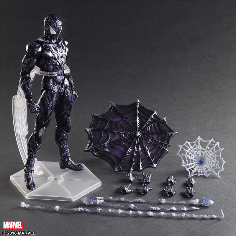 SQUARE ENIX Play Arts KAI Black Spiderman PVC Action Figure Collectible Model Toy 28cm halo 5 guardians play arts reform master chief action figure