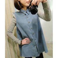 Women S 2013 Autumn Shoulder Pads Puff Sleeve Denim Long Sleeve Shirt Female Cardigan Basic Shirt