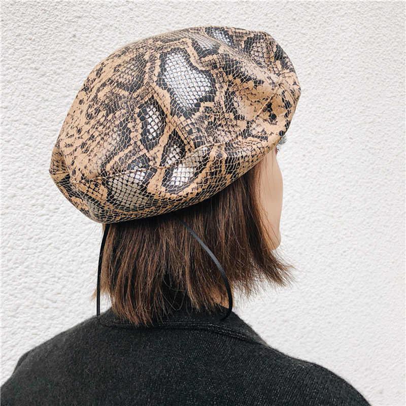 2019 Новинка весны из кожи ПУ, с рисунком под змеиную кожу берет Для женщин модная Корейская версия женский берет девочек насыщенные цвета французская шляпа