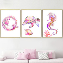 Watercolor Seahorse Turtle Mermaid Nordic Posters And Prints Wall Art Canvas Painting Pictures For Kids Room Quadro Decor