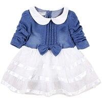 Baby Girls Autumn Mini Dress Cotton Mesh Patchwork Bow Cute Peter pan Collar Long Sleeve Princess Dresses Children Clothing