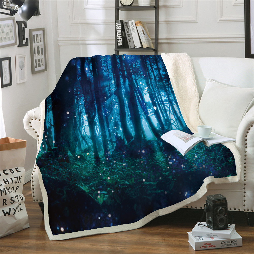 Bedding Impartial Secluded Forest 3d Print Coral Fleece Yoga Beach Blanket Couch Air Conditioning Blanket Travel Bedding 150x200cm