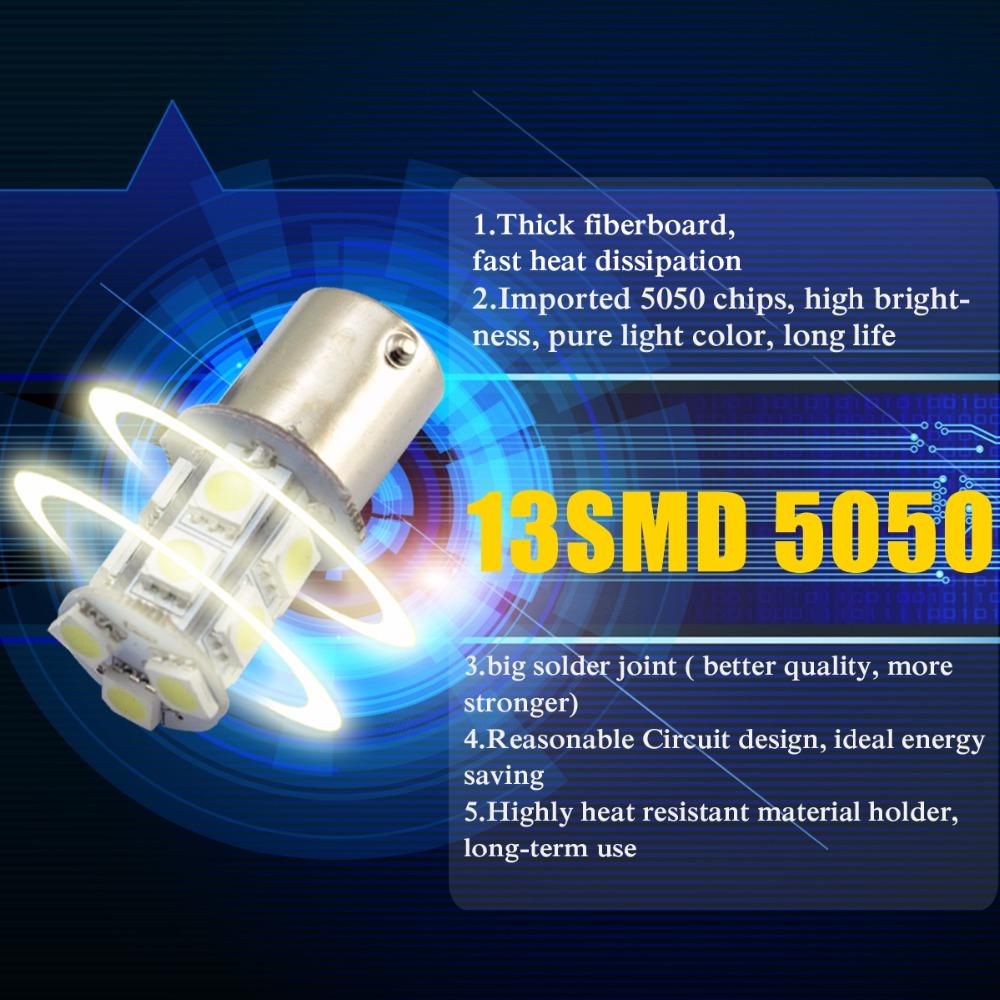 RETYLY 2 x 1157-T25 BAY15D P21 5W 27 SMD5050 12V LED Brake Light White Light