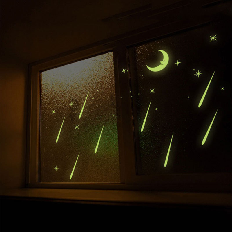 Метеоритный Наклейки на стену небесно-Звезда Луна на стены световой Наклейки флуоресценции детская комната Спальня детская hogard