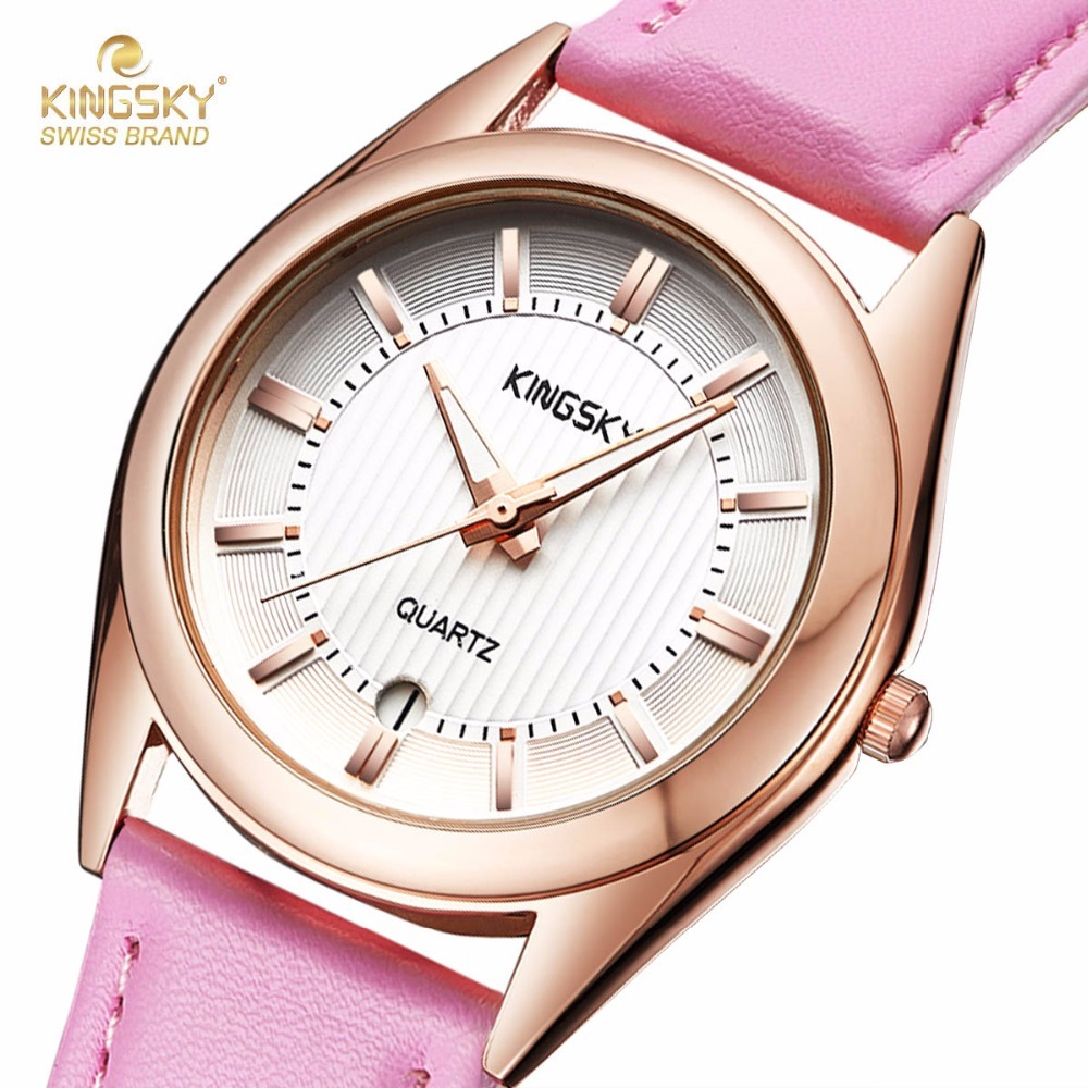 KINGSKY Women Watch with Calendar Fashion Dress Watches Pink PU Leather Strap Rhinestone Dial Ladies Quartz Wristwatch 2017 New matisse fashion austria crystal snowflake rotatable dial leather strap buiness quartz watch wristwatch rosegold