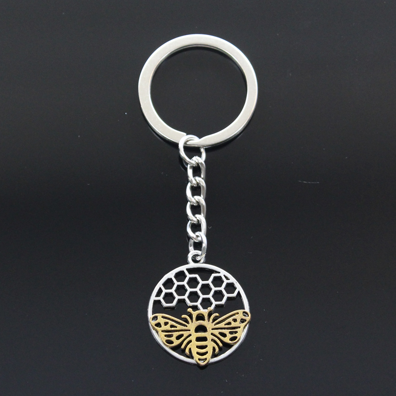 New Keychain 29x25mm Gold Bee Honeycomb Honeybee Pendants DIY Men Car Key Chain Ring Holder Keyring Souvenir Jewelry Gift